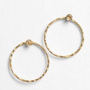 Herkimer Diamond & Raw Brass Hoop Stud Earrings